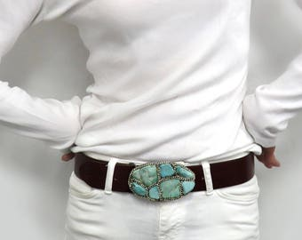 Turquoise Buckle - Casual Turquoise Stone Belt  Buckle for Jeans with Silver Chain by Sharona Nissan