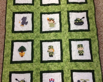 Patriotic Baby Quilt Armed Forces Flag