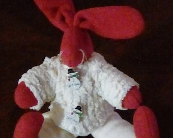 red wool bunny