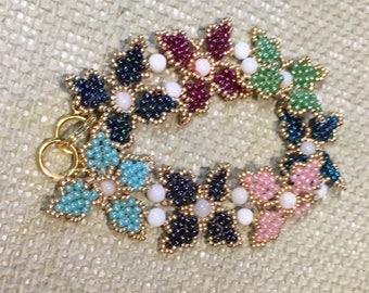 Rainbow Beaded Flower Bracelet