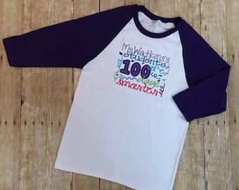 Adult Teacher Embroidered Raglan Shirt 100 Days of School, 100 days smarter shirt, Teacher Shirt, 100 Day of School Teacher Shirt,