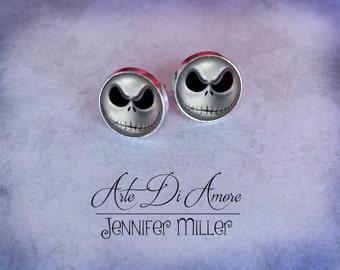 Jack Skellington Stud or Dangle Earrings or Cufflinks