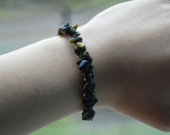 Chip Gold Obsidian Bracelet