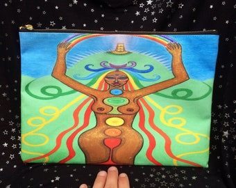 "Original Artwork ""Avalon Rainbow Goddess"" (Aelph of Avalon) LARGE Zipped Bag Pouch Purse Psychedelic Magical Chakra"
