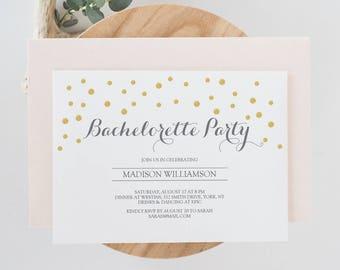 Gold and Gray Bachelorette Party Invite -  Gold Confetti - Printable Invitation Template - Editable PDF  - 4x6 and 5x7 inches - #GD0608