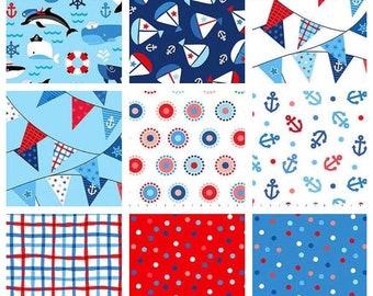 First Mate BUNDLE by Deborah Edwards from Northcott Fabrics- First Mate Bundle - First Mate Fat Quarters Bundle - 9 Fabrics Each Bundle