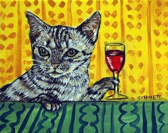 cat art - Ocicat , cat , wine,  print, modern folk art, cat art, cat print, cat gift, gift for wine lover, cat gifts, gift