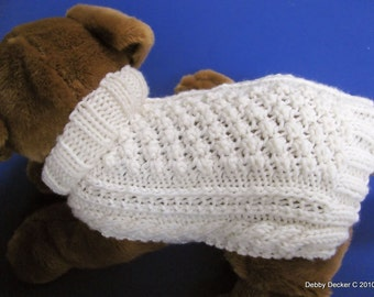 Aran Knit Dog Sweater knitting pattern - Garden Path design - downloadable PDF