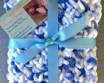 Granny's Snuggler Blanket, Newborn Baby Boy, Shower Gift, Photo Prop