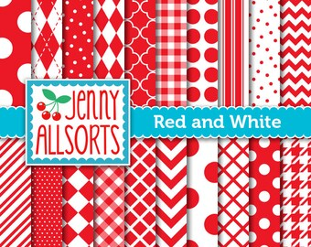 Bright Red Digital Scrapbook Papers in Graphic Patterns - for Scrapbooking, Card Making and Invitations - Instant Download