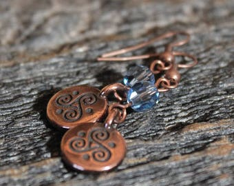 Copper Celtic Spiral and Swarovski Crystal Earrings