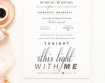 "Jimmy Eat World ""Chase This Light"" - Grey & Red - Valentine's, Wedding Gift, Paper Anniversary Gift, Song Lyrics, Art Print"