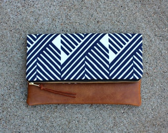 Blue Zig Zag Modern Foldover Clutch / Kindle Case