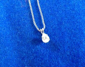 Vintage Rhinestone Necklace, Pear Shaped Rhinestone Pendant Necklace,  Tear Drop RhinestoneNecklace, Rhinestone Pendant Necklace
