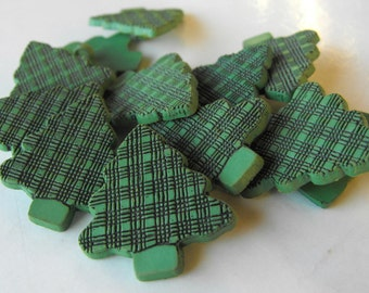 """18 Green Tree Shank Buttons Size 1 1/16"""""""