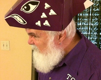 Purple Horned Toad Hat  - Fold Your Own