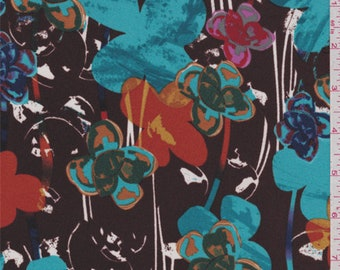 Brown Floral Crepe de Chine, Fabric By The Yard