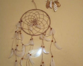 Set of 2 wall suspension feathers and beads