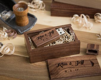 Thin Walnut USB Flash Drive & Wood USB Box Set - Custom Engraved USB