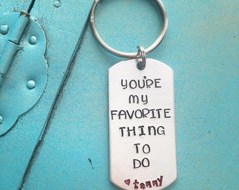Valentines Day Gift, Naughty Hand Stamped Keychain, Personalized Gift For Him, Wife Gift, Husband Gift, Boyfriend Girlfriend Gift, Funny