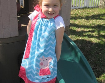 Peppa Pig Pillowcase Dress, Peppa Pig Dress, Turquoise Chevron and Coral Red Polka Dots, Peppa the Pig, Nick Jr. Inspired, Size 6 mos to 14