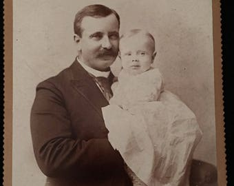 Cute Father Daughter Cabinet Card, 19th Century Photograph, Antique Cabinet Card Photo