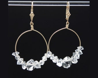 Gold Herkimer Diamond earrings | Herkimer earrings | Herkimer jewelry | Herkimer Diamond crystals | Herkimer Diamond earrings | Gift for Her