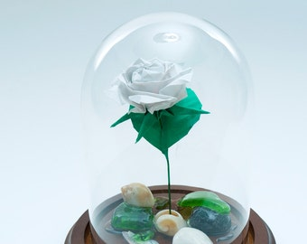 Origami rose in white paper small decorative globe -Made to order