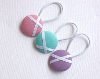 Button Hair Ties - Purple, Aqua and Pink with white ribbon