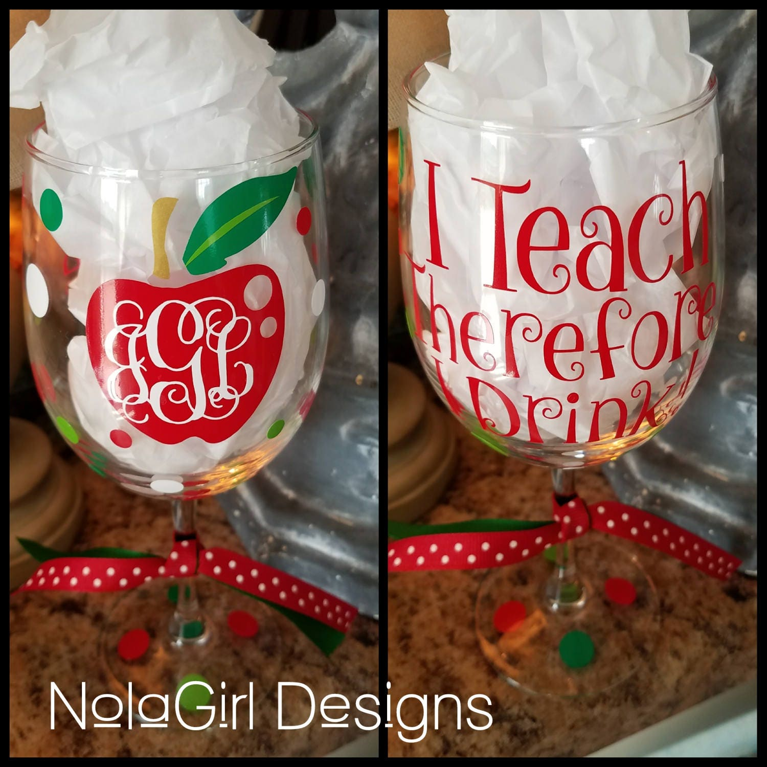Teacher Wine Glass I Teach Therefore I Drink Stemless