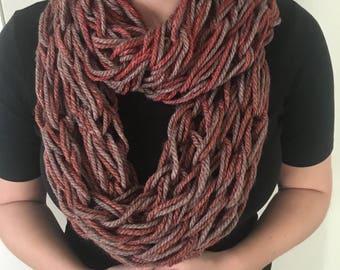 Arm Knit Double Wrap Infinity Scarf- Pumpkin Chai
