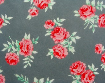 Set of 3 sheets of paper roses Decopatch red on gray background