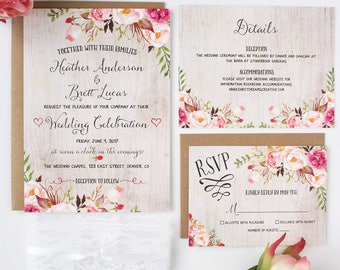 Rustic Wedding Invitations - Floral - Wedding Invitations - Rustic Romance Collection - Deposit