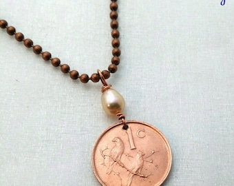 Sparrow Necklace - SPARROW coin pendant - two birds on a branch - South Africa necklace - bird necklace - freshwater pearl - sparrow jewelry