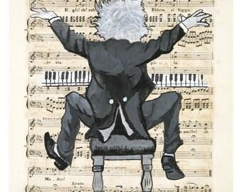 The Happy Pianist - giclee print