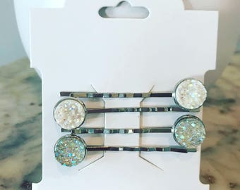Silver bobby pins with white & iridescent white druzies Bobby Pin Set