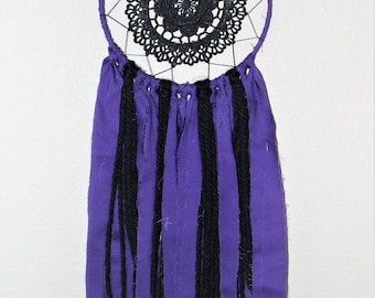 Dreamcatcher Purple and Black Wall Hanging Wall Decor Lace Doily Handmade Gift