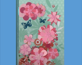 Hand Decorated Retro Floral Themed or owl Journal or Guestbook 3 variations - Free Ship in USA