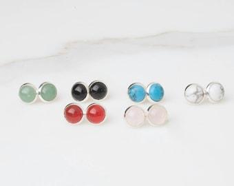 Silver Studs, Ear Studs, Gemstone Studs, Minimalist Studs, Simple Earrings,  Rose Quartz Studs, Blue Studs, Stone Earrings, Cabochon Studs