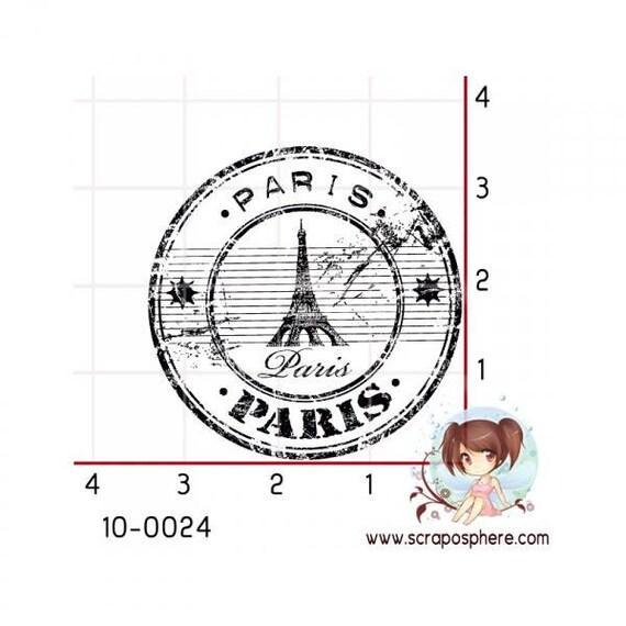 """SCR23 scraposphere """"paris"""" motif rubber stamp"""