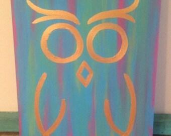 Golden owl canvas