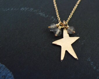 14k solid gold star necklace - modern minimalist labradorite tiny charm - graduation gift