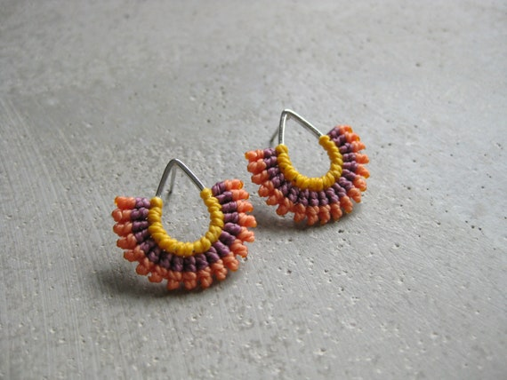 I b e y i  Tropical . Silver Teardrop Textile Stud Earrings . © Design by .. raïz ..