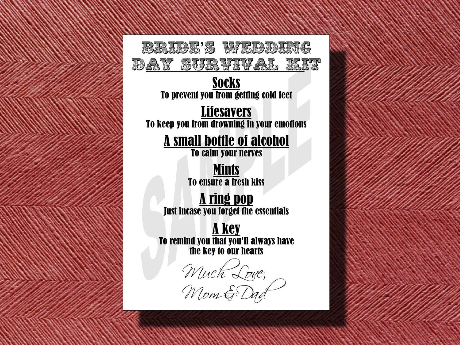 Wedding Day Bride\'s Survival Kit Card