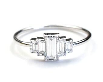 Diamond Engagement Ring, Engagement Ring, Baguette Engagement Ring, Baguette Diamonds and White Gold, Vintage Art Deco Style Ring, Nixin