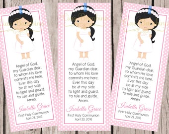 PRINTABLE First Holy Communion Bookmark / Choose Hair and Skin Color / Print Your Own Personalized Communion Bookmarks for Favors - HC20