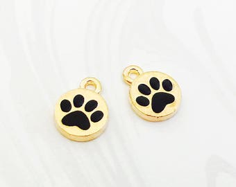 Gold Paw Charm, Dog Charm, Cat Charm, Pet Memorial, Bracelet Charm, Enamel Charm, 13mm x 10mm, GTP047
