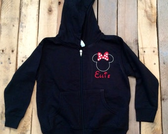 Custom Hoodie - Personalized - Mickey Mouse - Minnie - Disney - Zip Up Hoodie - Black- Long Sleeve - Youth jx3ZUuDr