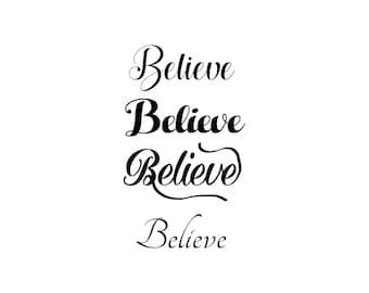 believe SVG, Silhouette cute believe, christmas vector, cute santa believe Cut Files, Svg Files, Cricut Files, believe Silhouette Files
