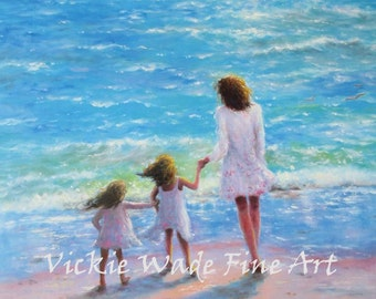 Mother and Two Daughters Beach Art Print, mom, two girls, beach sisters, two sisters, girls walking, sandy beach, loving, Vickie Wade Art